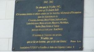 Plaque dans le hall de la gare d'Angers Saint-Laud