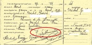 Signature P. Delhumeau  Baptême Angers St Laud 1927