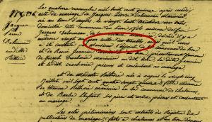 mariage à Chalonnes le 14 novembre 1815