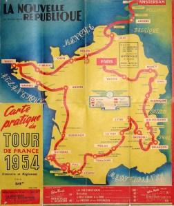 carte du Tour de France 1954