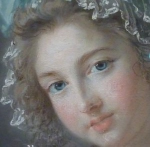 Détails du visage d'Aglaé de Polignac - 1784