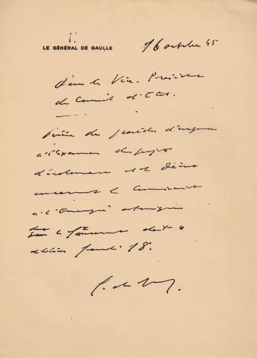 Fac-similé de la lettre de De Gaulle au Conseil d'Etat - ( cadeau que m'avait fait mon ami le professeur Pierre Pellerin