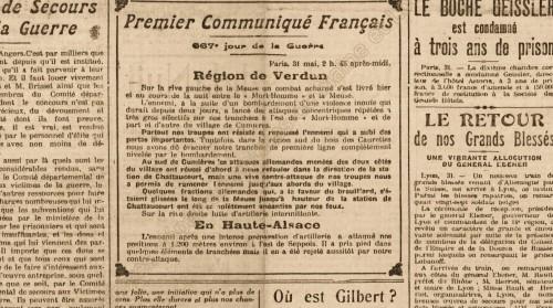 Petit Courrier - Communiqué pour le 31 mai 1916