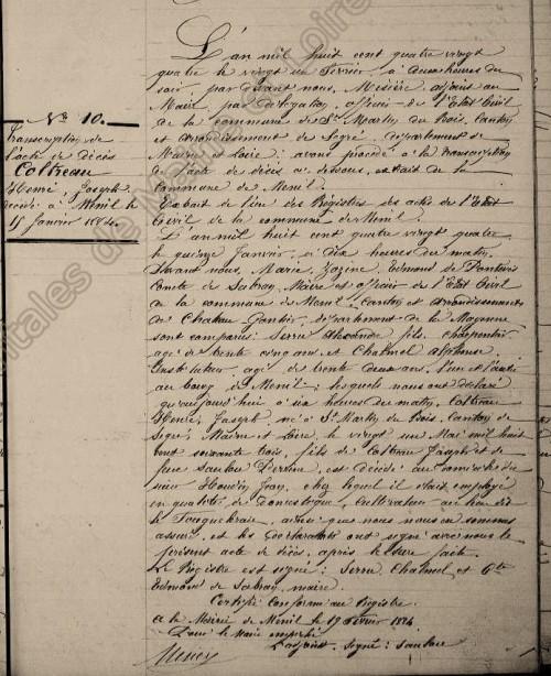Transcription de l'acte de décès sur le registre de Saint-Martin-du Bois (49)