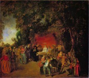 Watteau 1664- notaire établissant un contrat de mariage